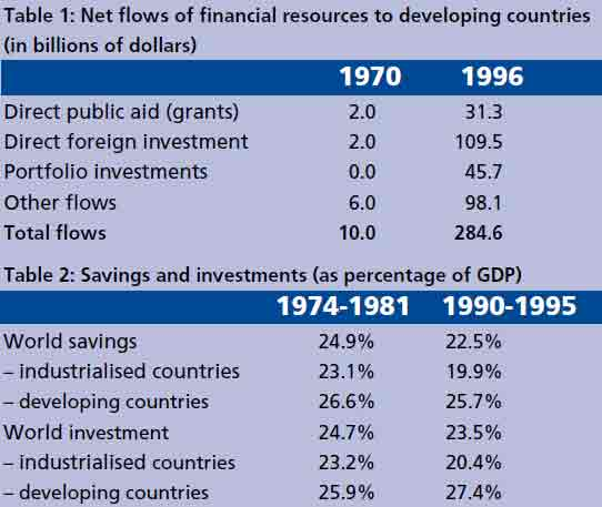 Table 1 : Net flows of financial resources to developing countries